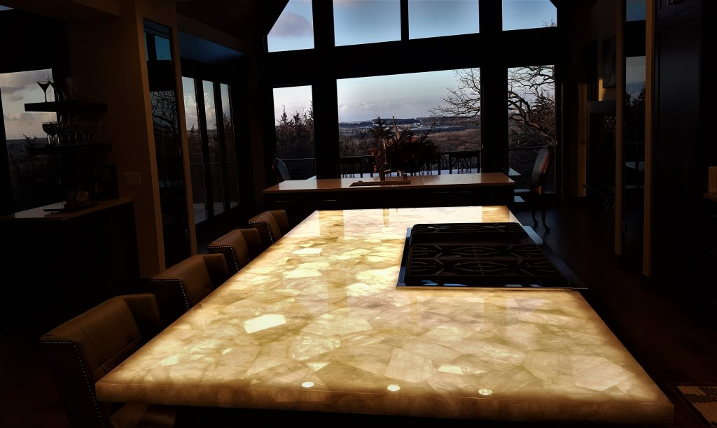 Illuminated Kitchen Island Stone Glows with ThinLight LED ...